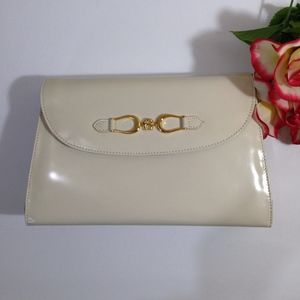 ETIENNE AIGNER Ivory LEATHER Crossbody Bag